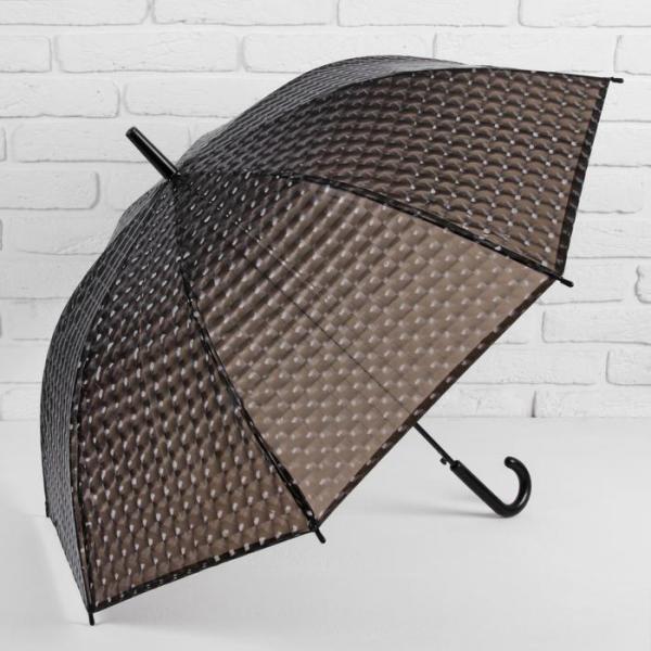Зонт-трость 3D, полуавтоматический, R=55см, цвет чёрный
