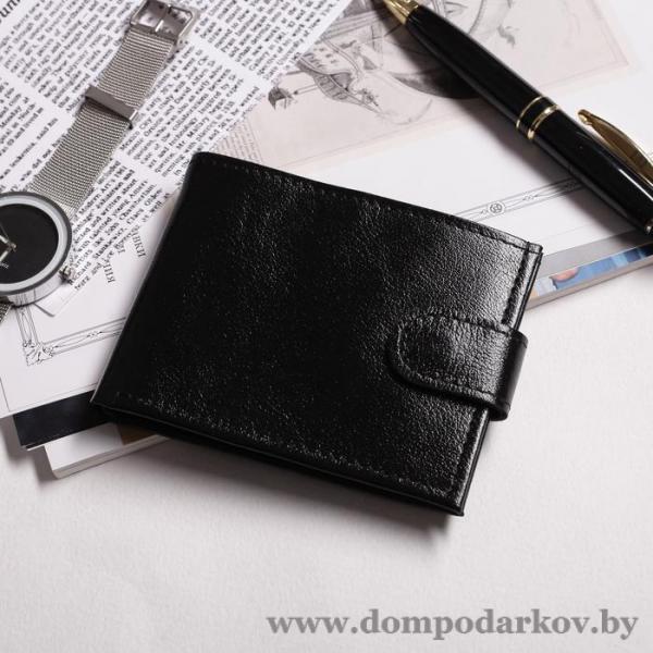 Фото Галантерея, Кошельки, Мужские кошельки Портмоне на кнопке, 1 отделение, отдел для монет, матовый, чёрный