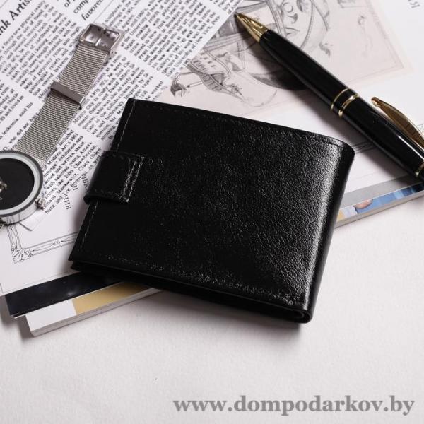 Фото ВСЕ ТОВАРЫ ЗДЕСЬ >>>, Галантерея, Кошельки, Мужские кошельки Портмоне на кнопке, 1 отделение, отдел для монет, матовый, чёрный