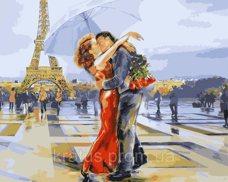 """GX 3122 """"Влюблённые в Париже"""" Роспись по номерам на холсте 40х50см без коробки, в пакете"""