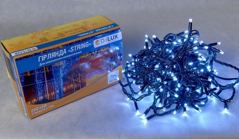 Гирлянда внешняя DELUX STRING 200 LED нить 20m (2x10m) 40 flash белый/черный IP44 EN