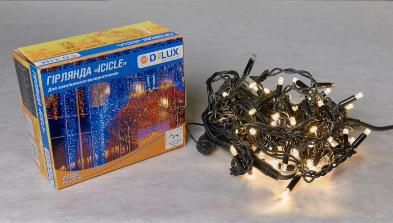 Гирлянда внешняя DELUX ICICLE 75 LED бахрома 2x0,7m 18 flash теплый белый/черный IP44 EN