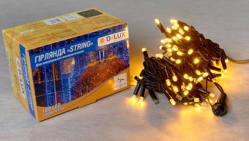 Гирлянда внешняя DELUX STRING 100 LED нить 10m (2x5m) 20 flash желтый/черный IP44 EN