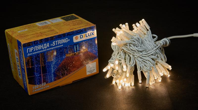 Гирлянда внешняя DELUX STRING 100 LED нить 10m (2x5m) 20 flash теплый белый/белый IP44 EN