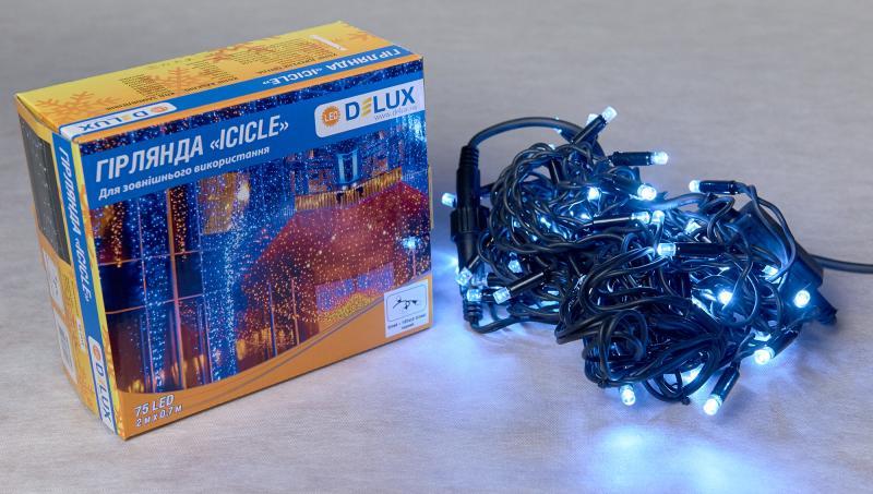 Гирлянда внешняя DELUX ICICLE 75 LED бахрома 2x0,7m 18 flash белый/черный IP44 EN