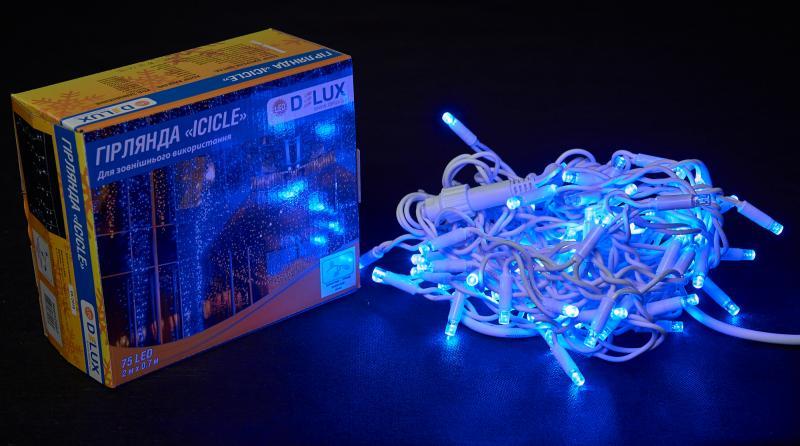 Гирлянда внешняя DELUX ICICLE 75 LED бахрома 2x0,7m 18 flash синий/белый IP44 EN