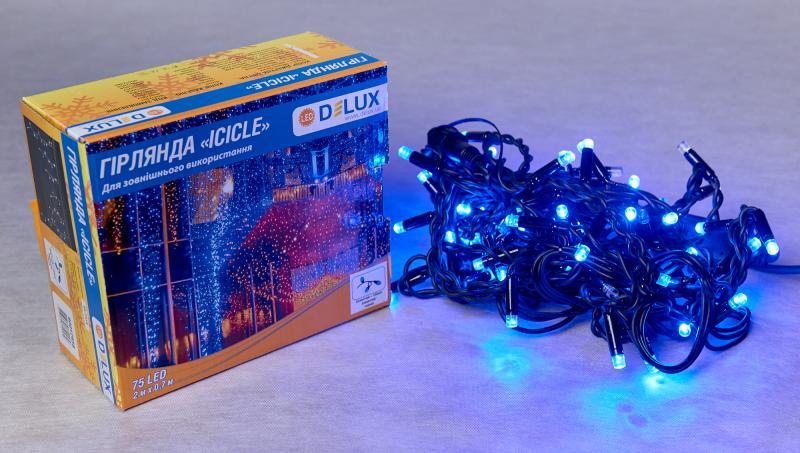 Гирлянда внешняя DELUX ICICLE 75 LED бахрома 2x0,7m 18 flash синий/черный IP44 EN