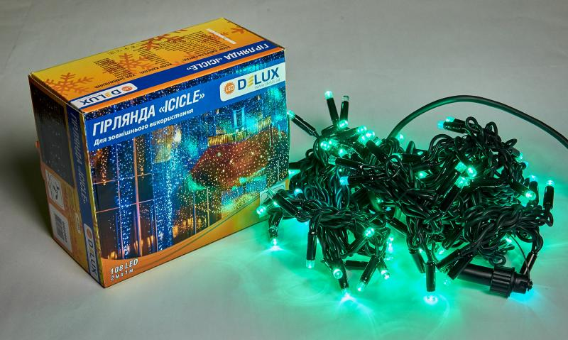 Гирлянда внешняя DELUX ICICLE 108 LED бахрома 2x1m 27 flash зеленый/черный IP44 EN