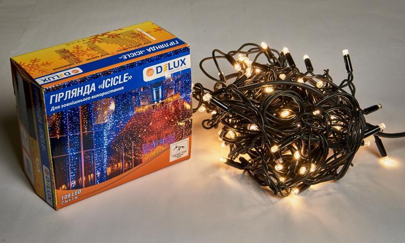 Гирлянда внешняя DELUX ICICLE 108 LED бахрома 2x1m 27 flash теплый белый/черный IP44 EN