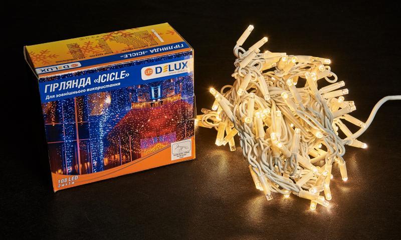 Гирлянда внешняя DELUX ICICLE 108 LED бахрома 2x1m 27 flash теплый белый/белый IP44 EN