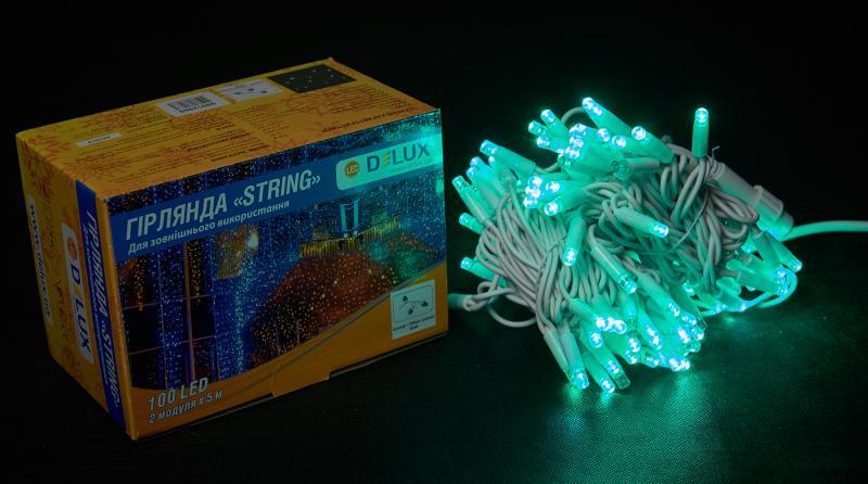 Гирлянда внешняя DELUX STRING 100 LED нить 10m (2x5m) 20 flash зеленый/белый IP44 EN