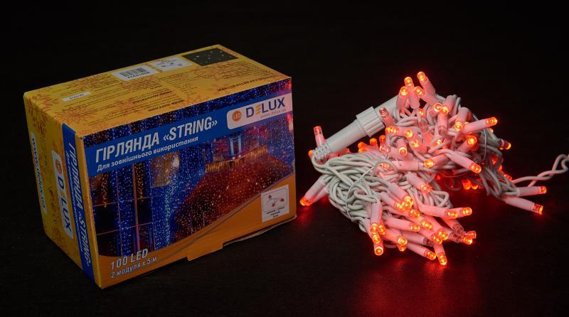 Гирлянда внешняя DELUX STRING 100 LED нить 10m (2x5m) 20 flash красный/белый IP44 EN