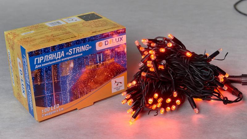 Гирлянда внешняя DELUX STRING 100 LED нить 10m (2x5m) 20 flash красный/черный IP44 EN