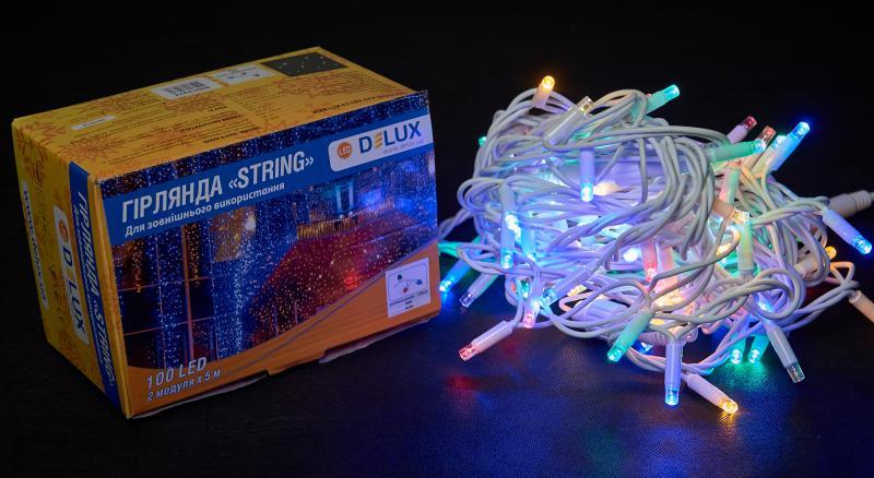 Гирлянда внешняя DELUX STRING 100 LED нить 10m (2x5m) 20 flash мульти/белый IP44 EN