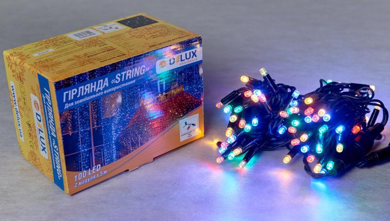 Гирлянда внешняя DELUX STRING 100 LED нить 10m (2x5m) 20 flash мульти/черный IP44 EN