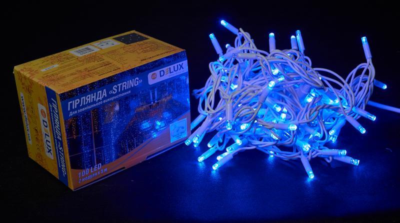 Гирлянда внешняя DELUX STRING 100 LED нить 10m (2x5m) 20 flash синий/белый IP44 EN