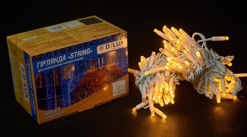 Гирлянда внешняя DELUX STRING 100 LED нить 10m (2x5m) 20 flash желтый/белый IP44 EN