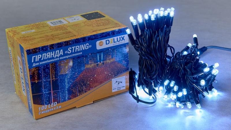 Гирлянда внешняя DELUX STRING 100 LED нить 10m (2x5m) 20 flash белый/черный IP44 EN