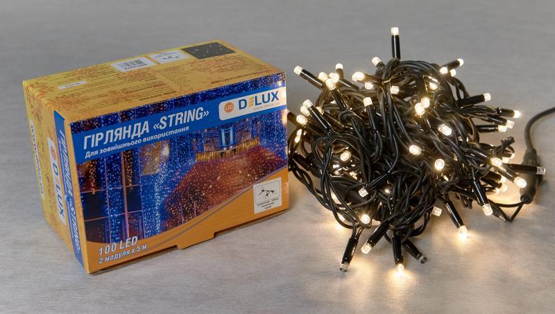Гирлянда внешняя DELUX STRING 100 LED нить 10m (2x5m) 20 flash теплый белый/черный IP44 EN