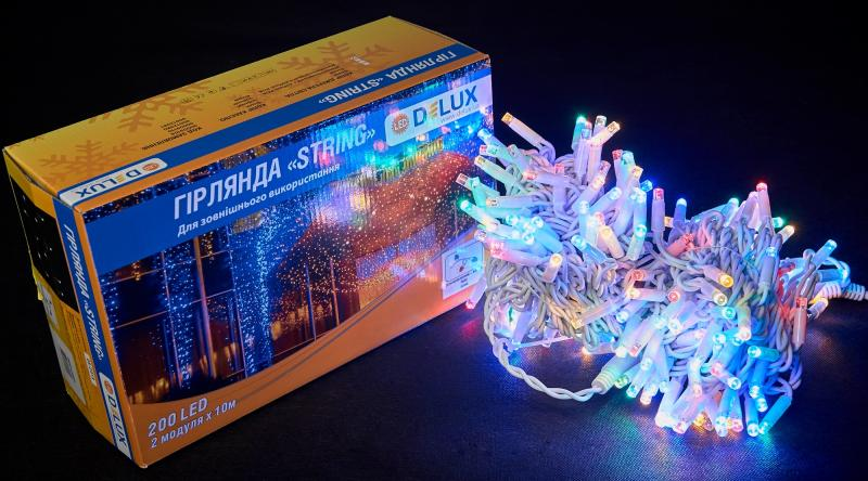 Гирлянда внешняя DELUX STRING 200 LED нить 20m (2x10m) 40 flash мульти/белый IP44 EN