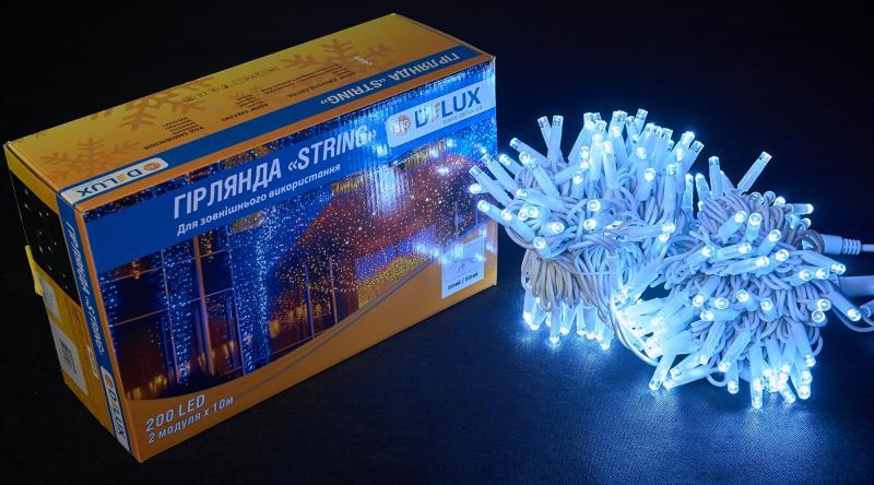 Гирлянда внешняя DELUX STRING 200 LED нить 20m (2x10m) 40 flash белый/белый IP44 EN