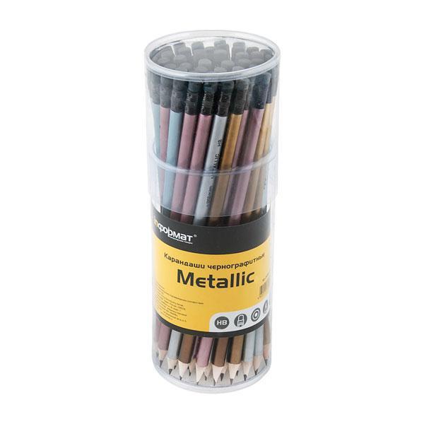 Кapандаш inФОРМАТ Metallic HB с ластиком заточенный