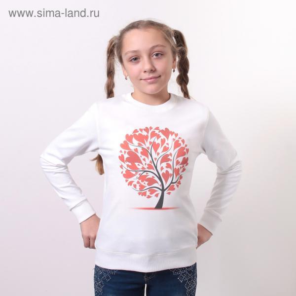 """Свитшот для девочки family look """"Дерево с сердцем"""" OXO-0207-018, цвет молочный, рост 134"""
