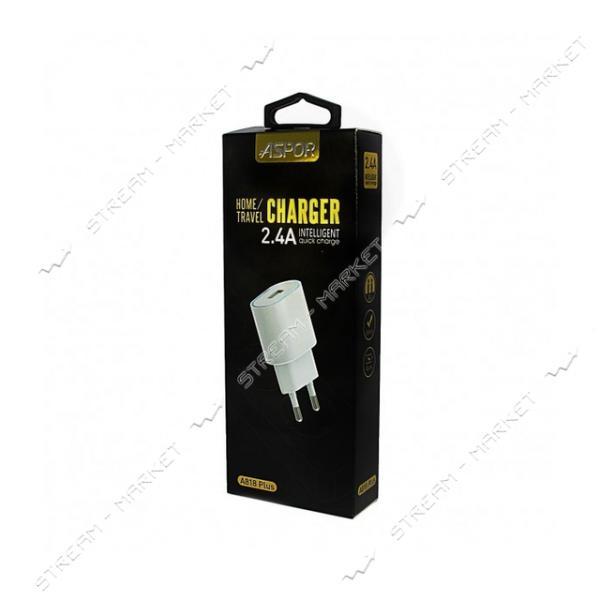 Сетевое зарядное устройство Aspor А818plus 5V/2.4A 1USB плюс micro USB кабель цвет черный
