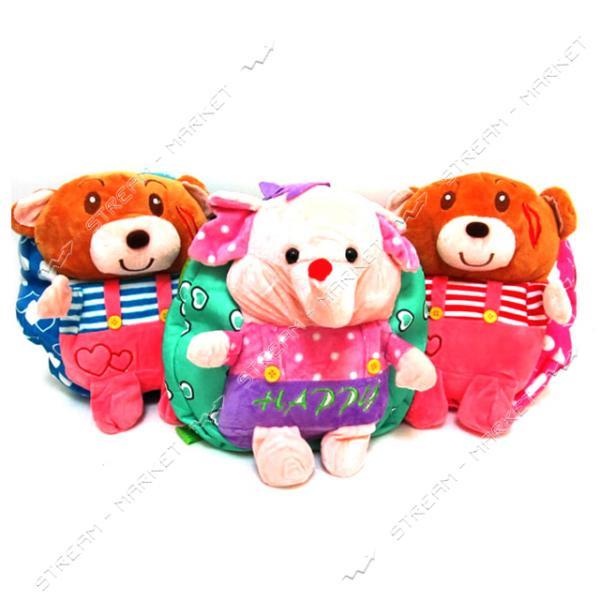 Рюкзак детский с игрушкой Мишки и слоники 0407 25х23х6 см игрушка и цвета в ассортименте