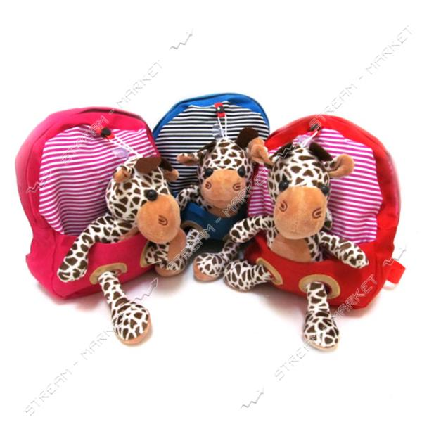 Рюкзак детский с игрушкой Зверушки 2960 25х22х6 см игрушка и цвета в ассортименте