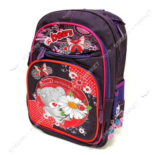 Рюкзак детский Мишка с цветами 7234G 39х28х12 см рисунок в ассортименте