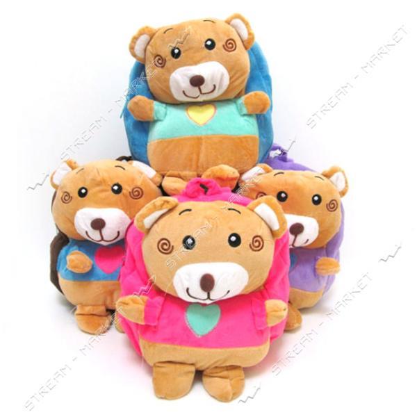 Рюкзак детский с игрушкой Медвежонок DSCN0532-2 26х24х6 см цвета в ассортименте