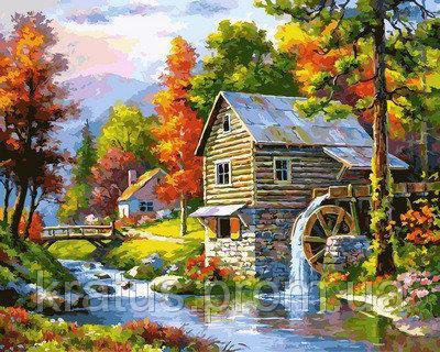 """VP 906 """"Мельница на берегу озера"""" Картина по номерам на холсте 40х50см"""