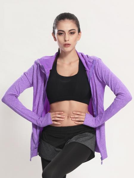 Женские спортивные кофты для спорта, 4 цвета, кофта для бега, одежда, кофточка, одежда, олимпийка для фитнеса Фиолетовый