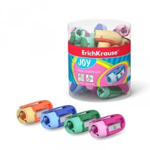 Точилка ERICH KRAUSE JOY, пластиковый корпус,цвет ассорти, в тубусе 48 шт.