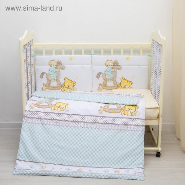 """Комплект в кроватку 6 пр. """"Моя лошадка"""", цвет бирюзовый, бязь, хл100%"""