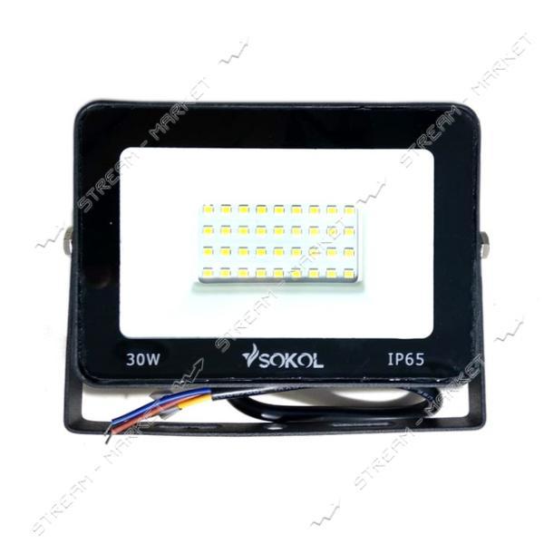 Светодиодный прожектор SOKOL LED-SLT-30W 220V 6500К IP65 Slim 2250lm холодный
