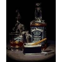 VP 1114 Виски Джек Дениэлс и сигара Роспись по номерам на холсте 40х50см