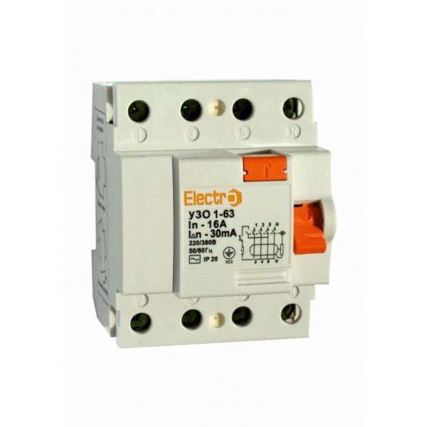 Пристрій захисного відключення УЗО1-63, 4P