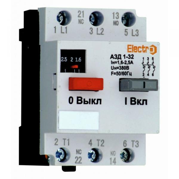 Автоматичний вимикач захисту двигуна АЗД1-32, 16A