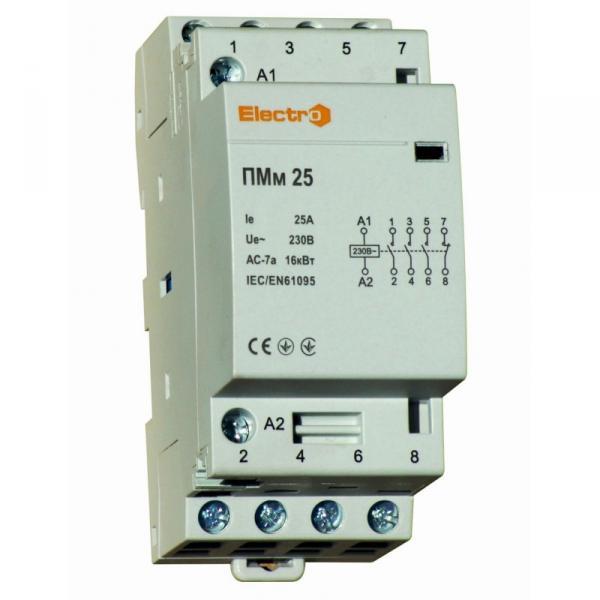 Модульний контактор ПМм, 4 полюси,  25 А