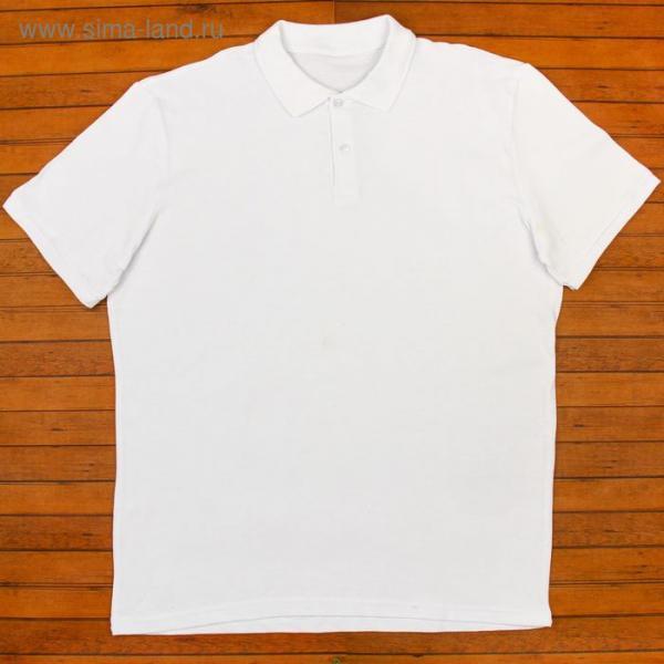 Футболка мужская поло цвет белый, р-р 56 (XXXL)
