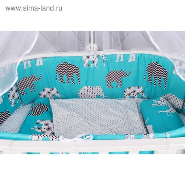 Борт кроватку, 4 предмета, принт слоники
