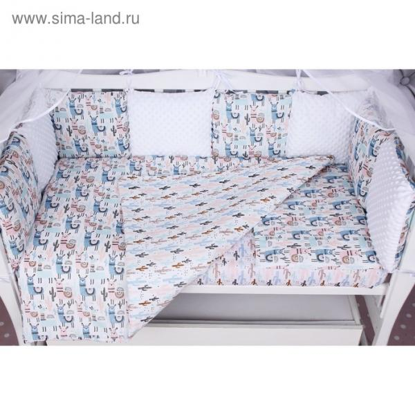 Борт в кроватку WB, 12 предметов, цвет розовый, принт ламы