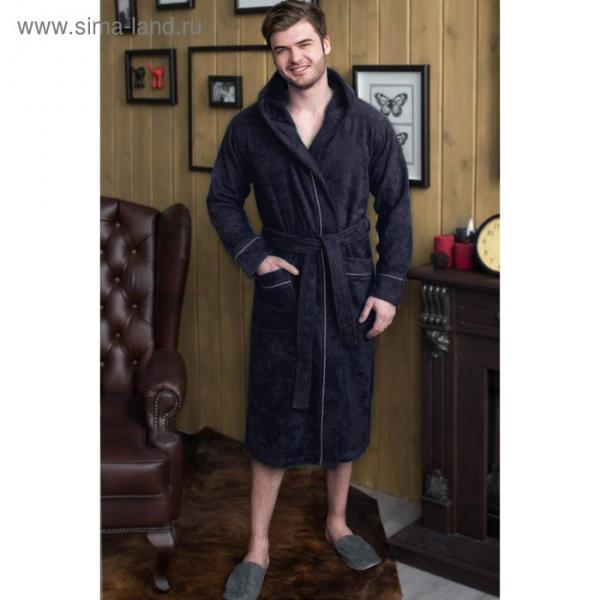 Халат мужской с капюшоном, размер 54, цвет чернильный, махра