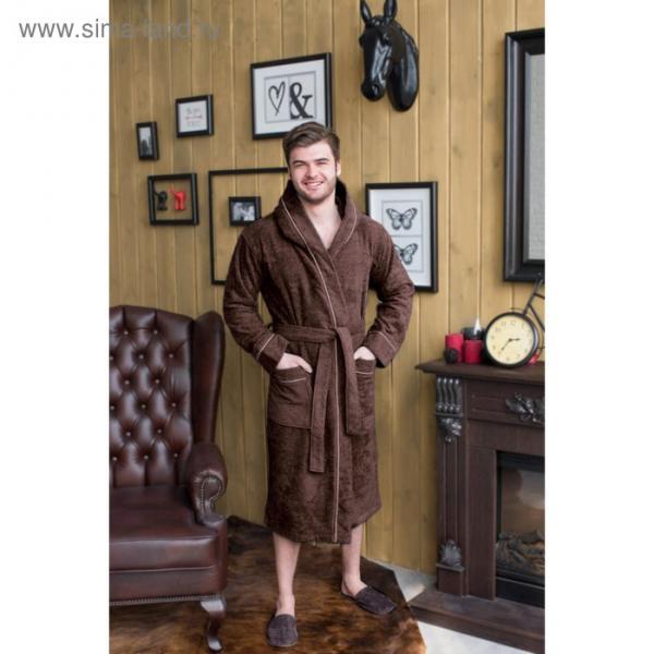 Халат мужской с капюшоном, размер 56, цвет шоколадный, махра