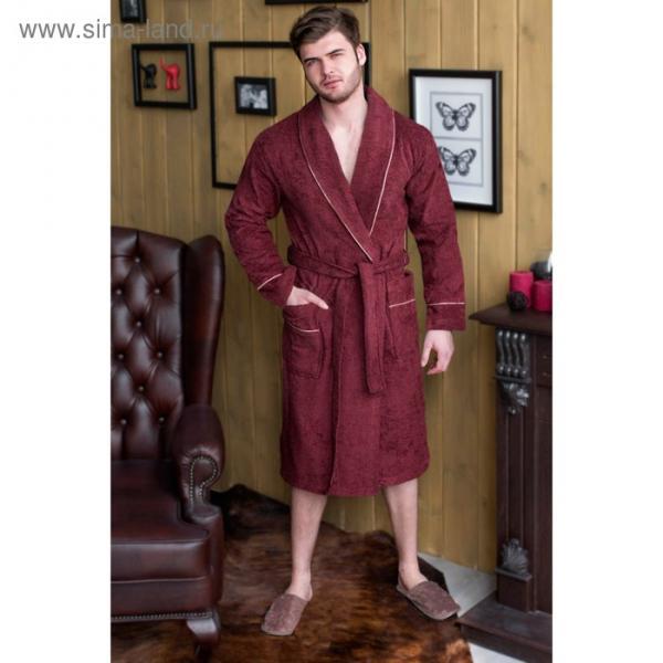 Халат мужской, шалька, размер 64, цвет бордовый, махра