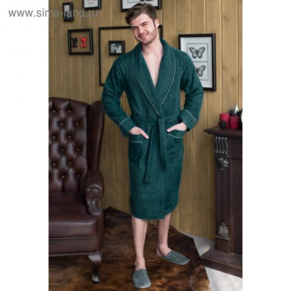 Халат мужской, шалька, размер 60, цвет зелёный, махра