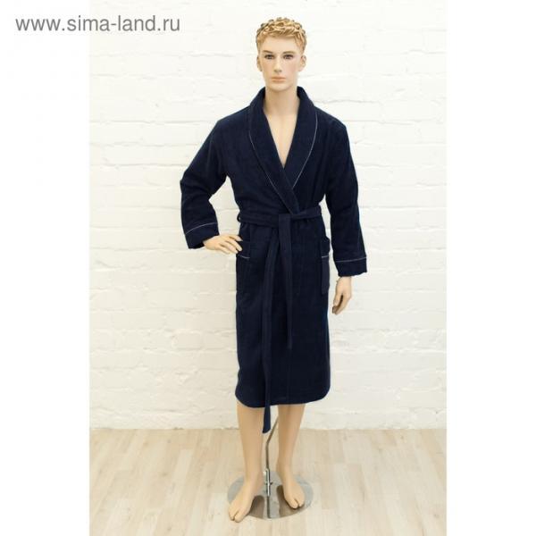 Халат мужской, размер 52, цвет синий, махра-велюр