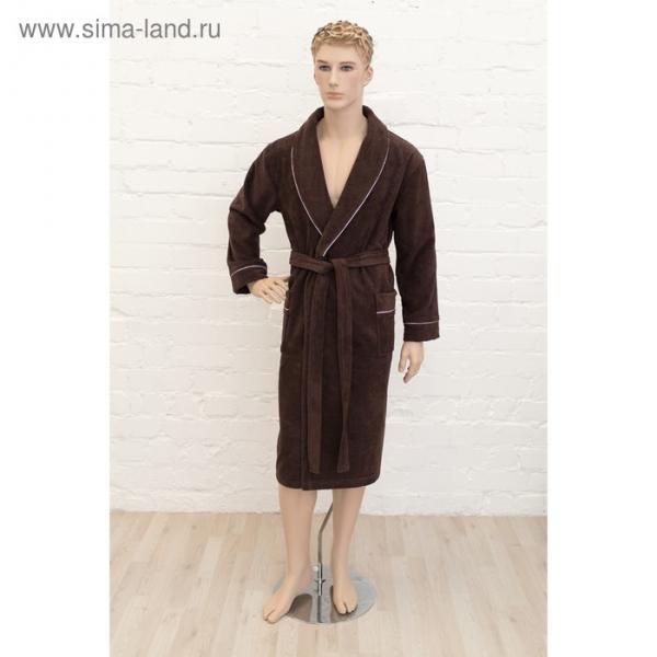 Халат мужской, размер 56, цвет шоколадный, махра-велюр